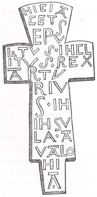 The cross covering Arthur's tomb